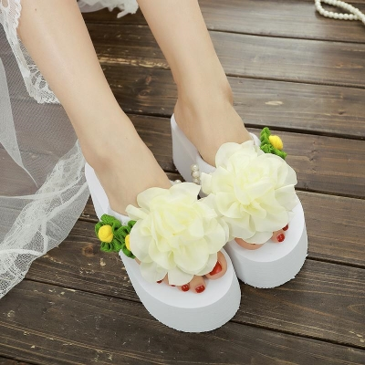 Creative hand-made flower high-heeled flip flops with sandals on the outside womens summer sandals with beach slope heels