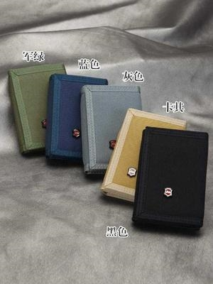 Mens canvas short three fold double-layer small wallet simple sports student cloth Wallet Zipper change card