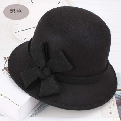 秋冬季女士盆帽 混纺呢子面料韩版时尚女士女帽圆顶帽子小礼帽