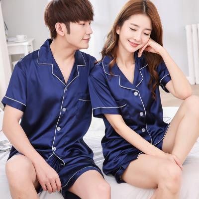 Button style pajamas shorts mens summer thin ice two piece set smooth Lapel womens adult grey spring and autumn single piece