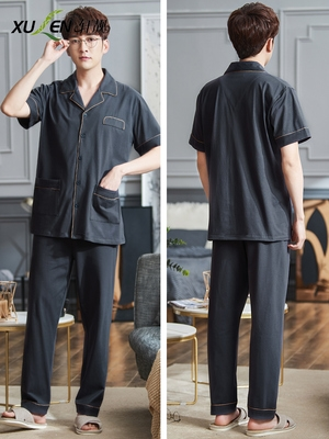 Pajamas mens summer cotton short sleeve pants mens cardigan home wear summer thin size plus spring and autumn suit