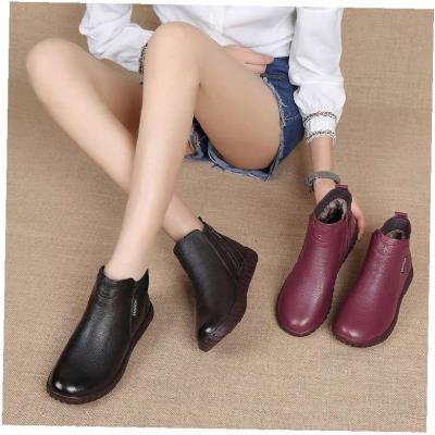 鞋秋冬季防滑妈妈鞋休闲短靴子纯皮中年棉鞋老妈中老年女靴女式
