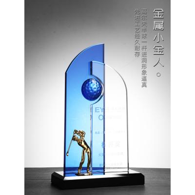 高档高尔夫球奖杯定制水晶奖牌篮球足球金属人球水晶奖杯台球羽毛图片