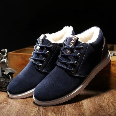 Winter middle aged and elderly cotton shoes father Plush high top leather shoes business formal wear middle aged warm mens shoes