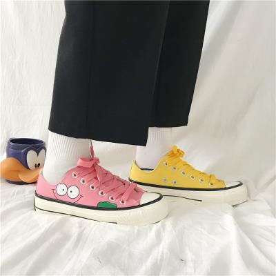 Flat bottom, low top, classic board, lovely printing style, new cartoon students summer shoes, canvas shoes, girls soft harbor leisure