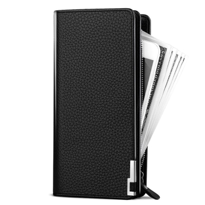 ? Black Fashion Wallet Chain Leather Wallet practical solid color handbag for men, multi-purpose straight year men, light stretch strip