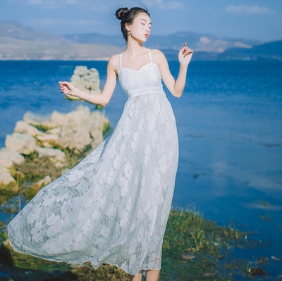 Beach fairy photo holiday Maldives Beach lace dress suspender dress long dress Sanya Tourism skirt