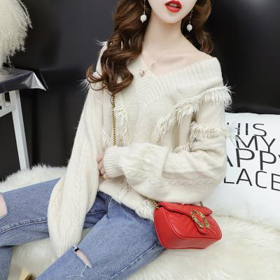 Lazy sweater lazy style loose short sweater women with skirt Pullover large Hong Kong style high collar foreign style.