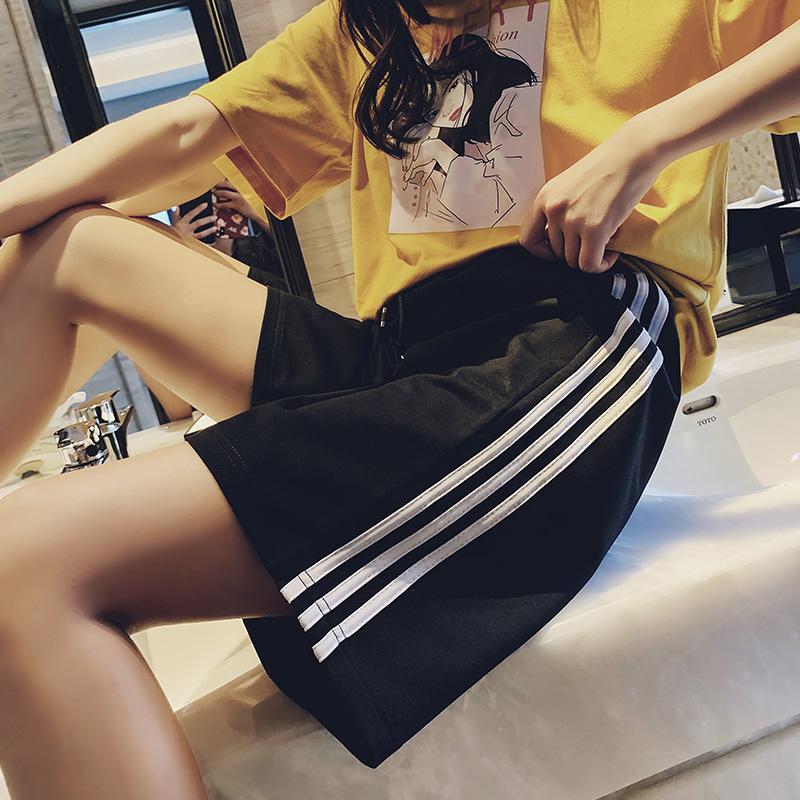 运动短裤女夏宽松ins潮外穿跑步韩版休闲高腰bf风中裤直筒五分裤图片