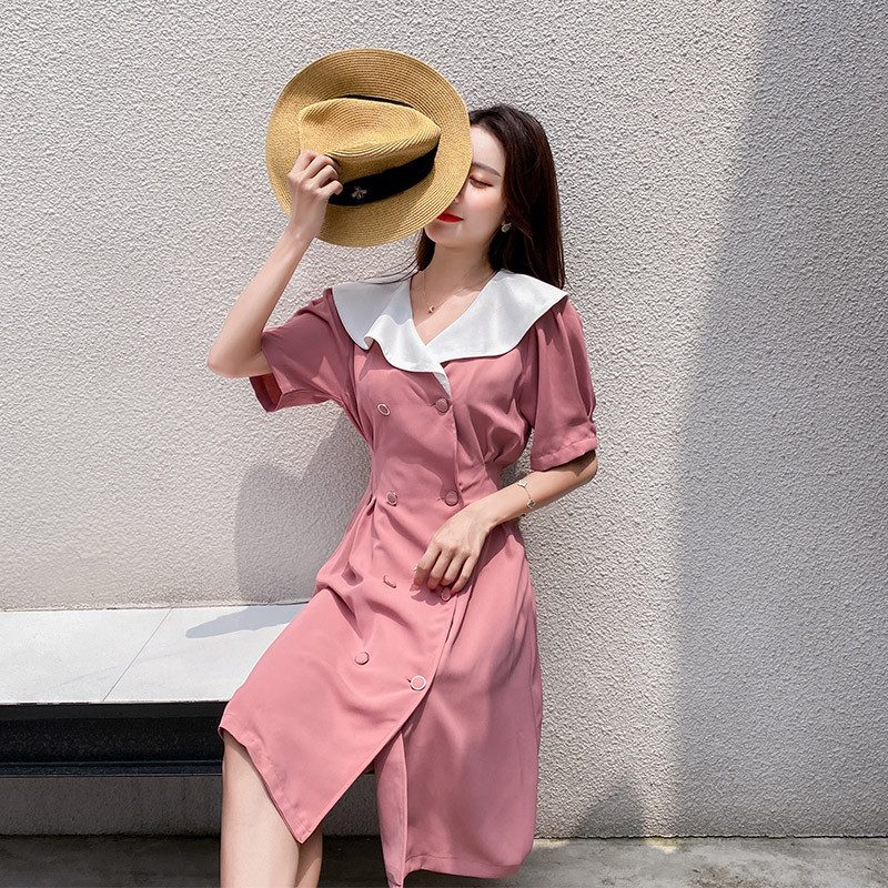 Summer ins style retro red womens double breasted slim short sleeve suit dress little red skirt fashion skirt