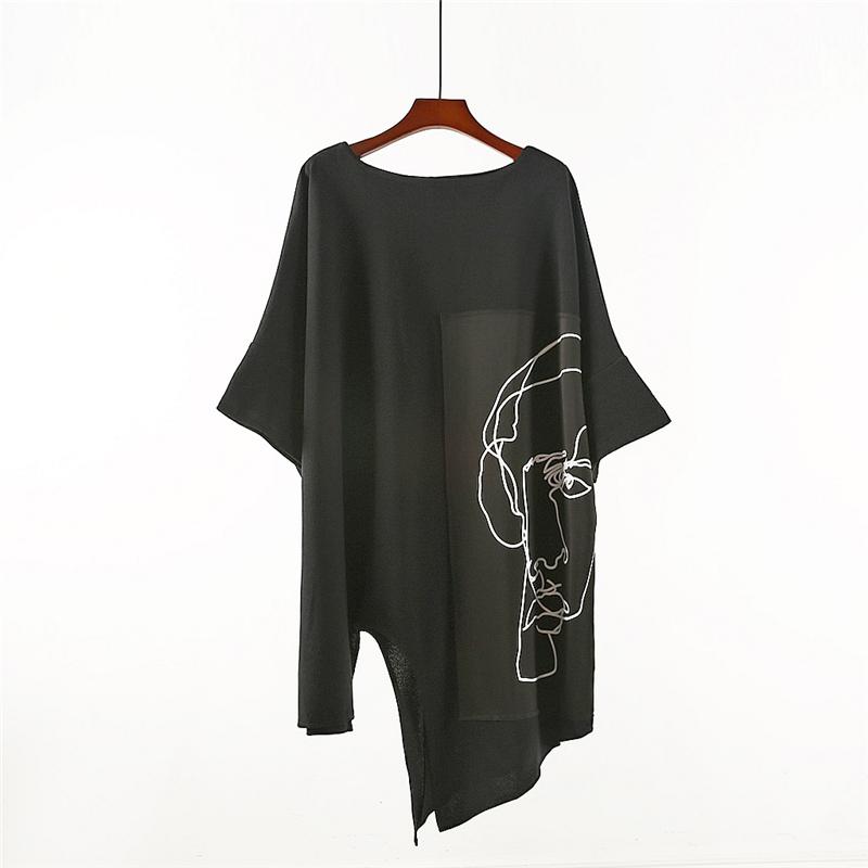 夏季个性宽松长款T恤设计师暗黑抽象印花打底衫薄款不规则短袖t恤