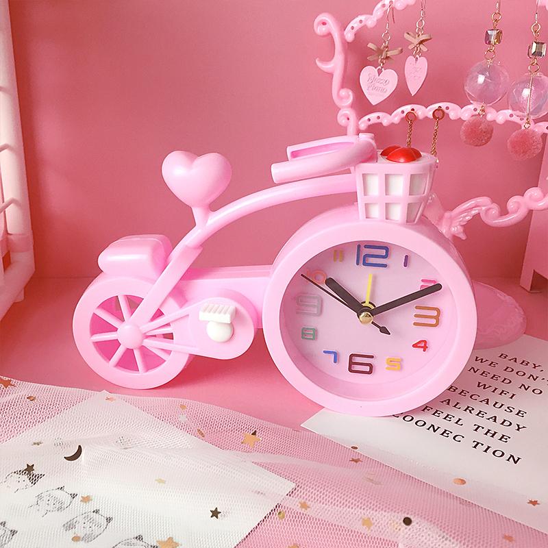 少女爱心自行车小闹钟创意多功能卡通可爱儿童学生用床头装饰礼品