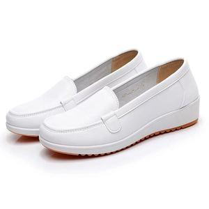 护士鞋女2020新款白色坡跟防滑皮鞋