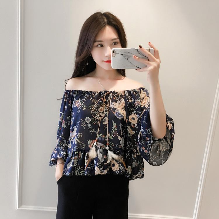 时尚个性韩版印花色上衣喇叭袖雪纺衫女夏季宽松七分袖宽松显瘦