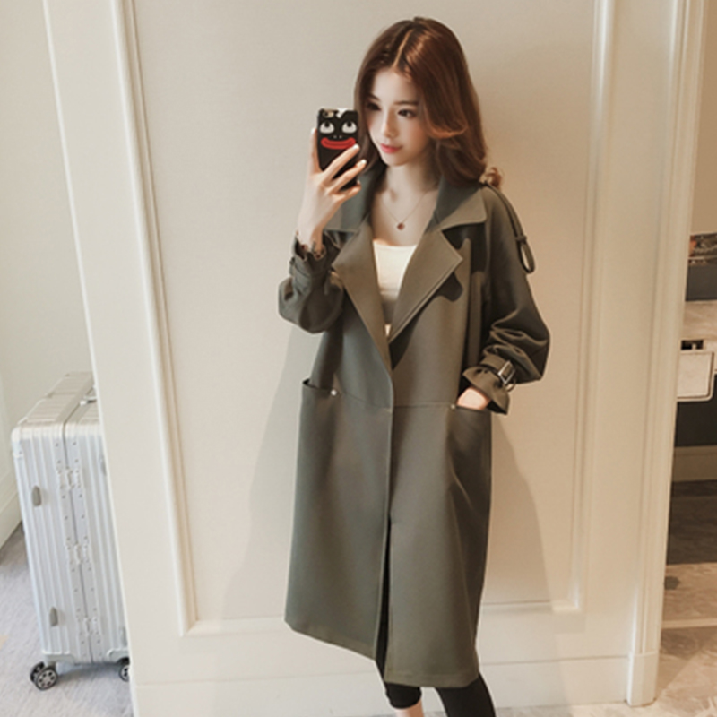 2018秋季新款韩版中长款西装领过膝风衣女装长袖宽松纯色大衣外套