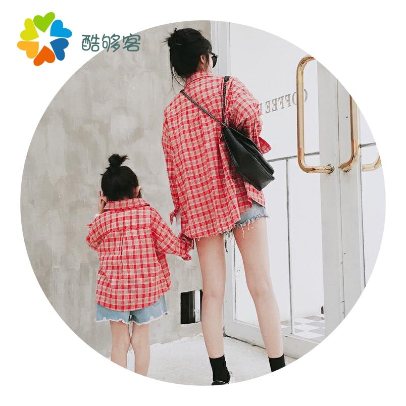 童装亲子装 春夏新款2019韩版儿童格子衬衫外套 母女装母子装2