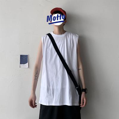纯棉背心男士无袖宽松情侣T恤新款夏季休闲运动坎肩短袖B001特P15
