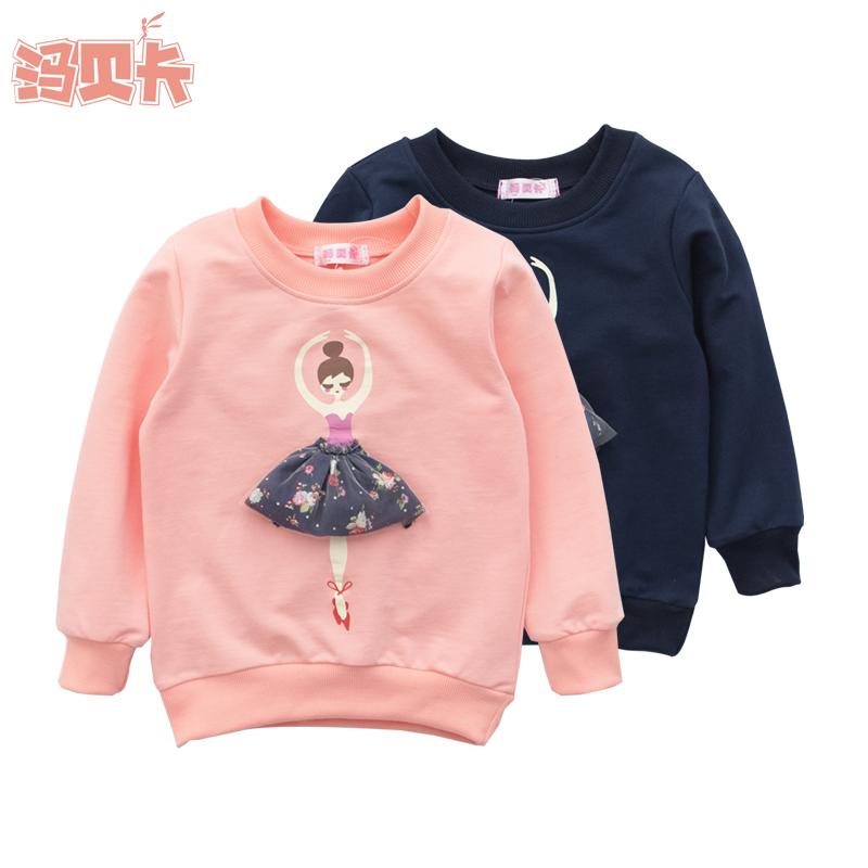 2016 裝 女童女孩純棉衛衣中大童芭蕾舞女孩套頭衫衛衣絨衫