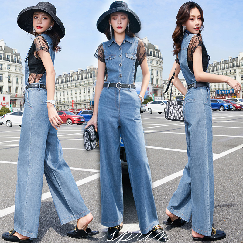 Europe station denim one piece wide leg pants summer new sexy womens fashionable foreign style younger lace splicing Jumpsuit