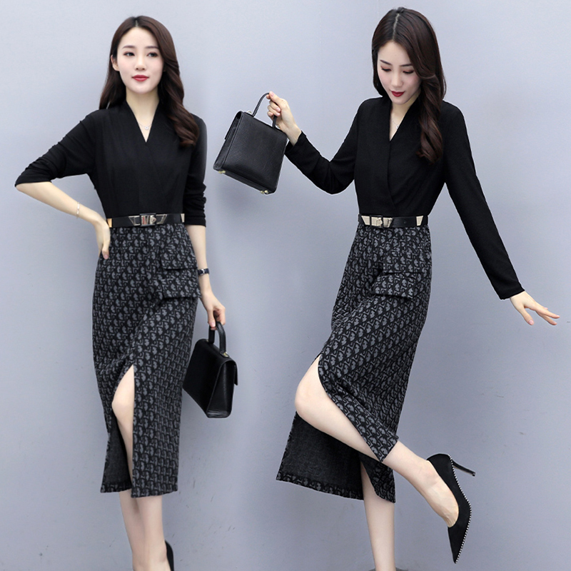 Fake two piece long sleeve professional shirt dress for womens spring and autumn new commuter ol print stitching split buttock skirt