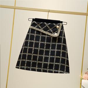 YF63841#  秋季新款大码女装粗花呢格子半身拉链高腰A字短裙子 服装批发女装直播货源