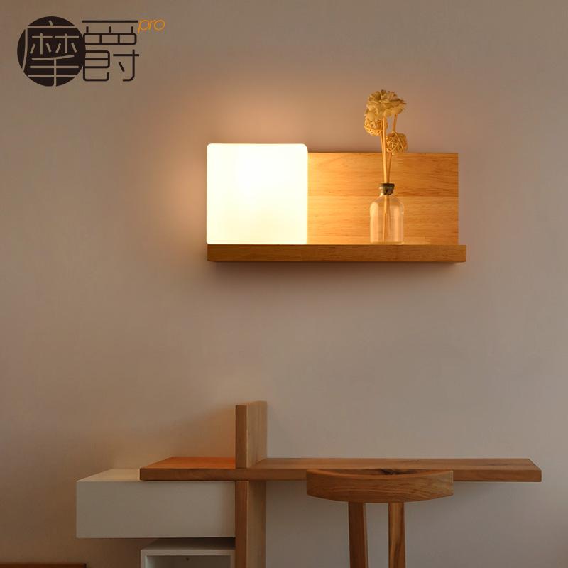 臥室床頭燈陽台簡約走廊宜家實木正方形木藝賓館酒店工程壁燈木頭