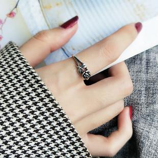 男女指环百搭配学生潮人 复古个性 s925纯银泰银玫瑰花开口戒指时尚