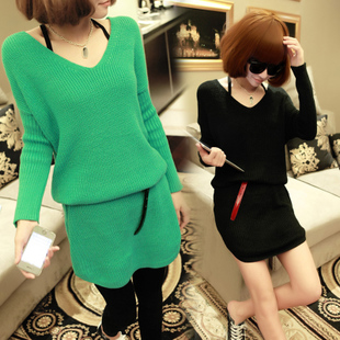 Winter New European style women s dress sweater loose big yards long section of wild hip knit shirt