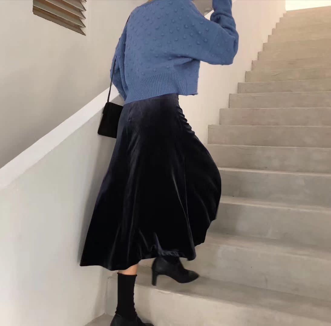 IDSTUDIO 高品质韩系尊贵丝绒半身裙2018秋季新款显瘦A字裙中长裙