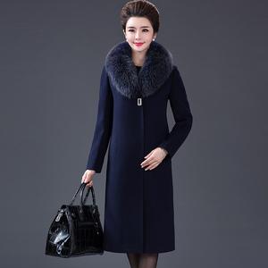 中老年羊绒大衣女装中年妈妈装狐狸毛领过膝中长款大码羊毛呢外套