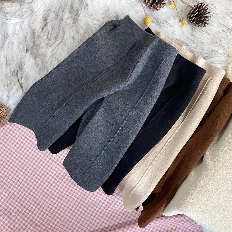 秋冬女童装厚款针织阔腿裤加厚毛线裤黑色九分裤直筒休闲裤八分裤