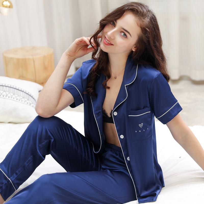 【桑蚕丝】真丝睡衣女夏季性感薄短袖长裤宽松丝绸套装休闲家居服