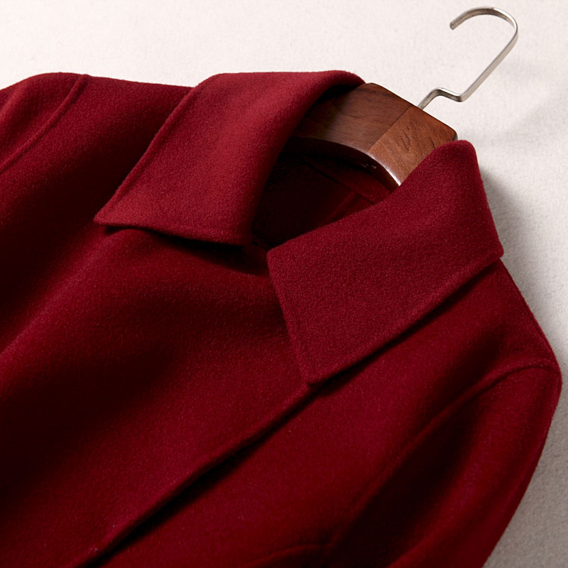Autumn and winter 2020 new double faced woolen coat women's long marriage wine red coat no cashmere fashion