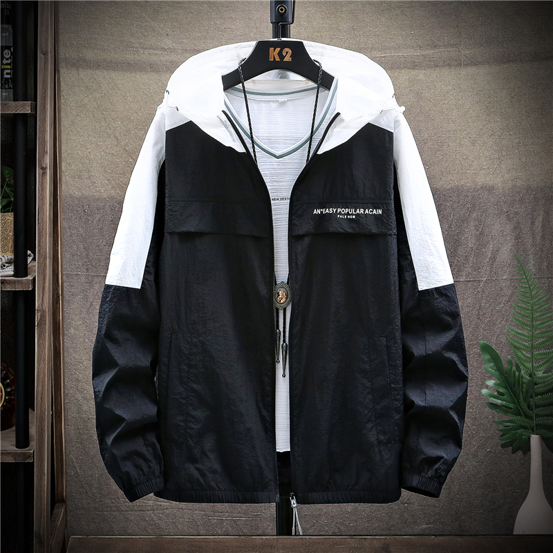 Mens color contrast sunscreen clothing outdoor sunscreen clothing skin clothing mens hat casual sports light jacket