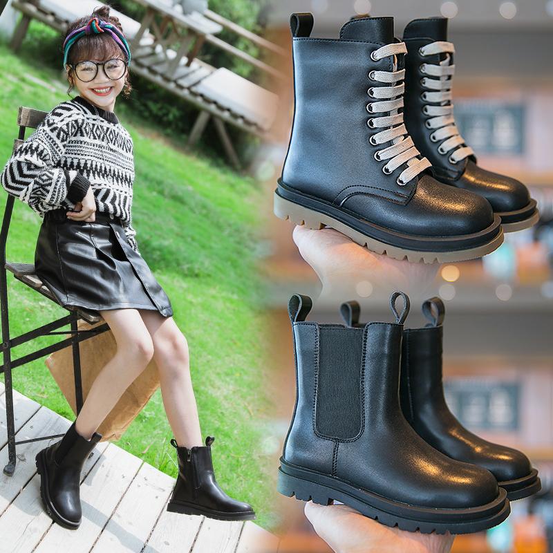 女童马丁靴男2020年新款单靴英伦风真皮儿童短靴潮网红靴子春秋季