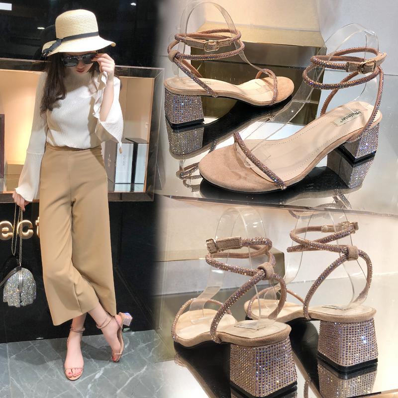 2018夏季新款韩版百搭仙女水钻凉鞋女粗跟中跟一字带网红高跟鞋潮