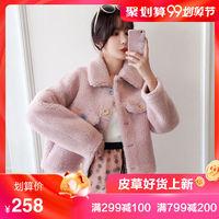 海宁2019冬季韩版甜美羊剪绒大衣皮草毛绒复合皮毛一体外套女短款