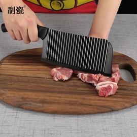 利瓷波浪纹不粘刀不锈钢菜刀切片刀砍骨刀厨刀菜刀套装时尚菜刀