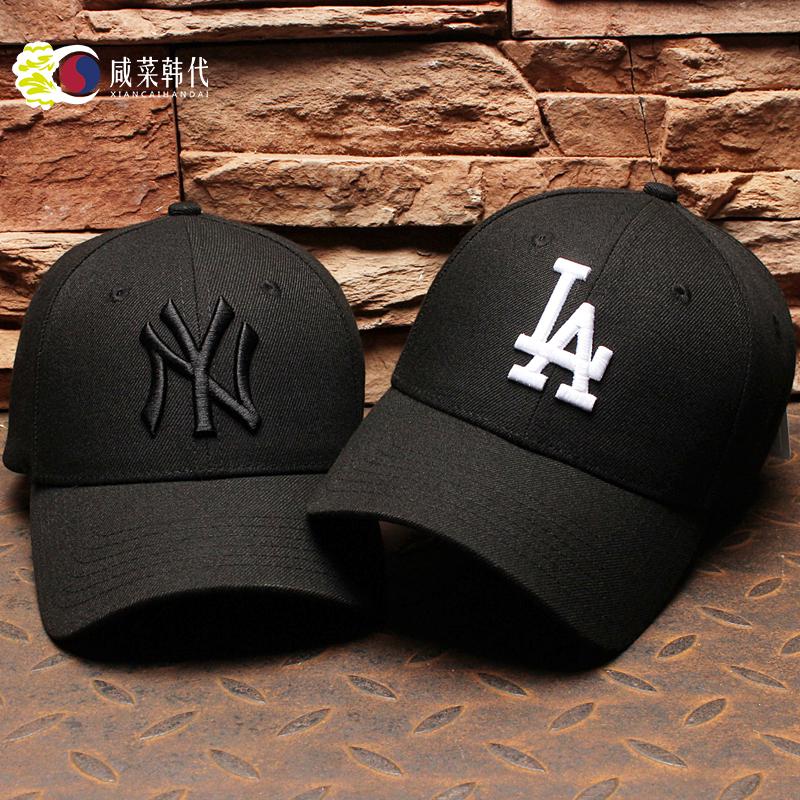 韩国MLB棒球帽男女黑色白标黑标NY鸭舌帽洋基队帽子LA道奇队春夏
