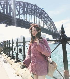 美美的夏夏 宽松拼接毛衣女装春秋新款中长款长袖针织衫拼接上衣