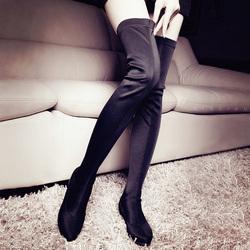 秋冬显瘦平底过膝长靴瘦腿弹力靴内增高女靴性感高筒长筒靴潮布靴
