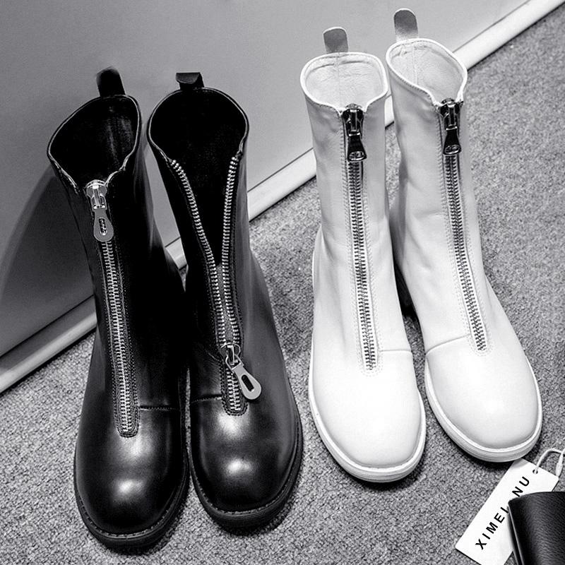 真皮前拉链短靴女内增高网红机车马丁靴黑白色中筒guidi靴子秋冬