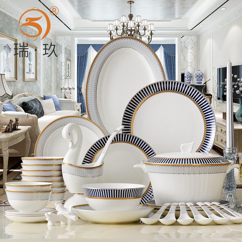 家用骨瓷餐具套装西式60头套装碗盘碟欧式陶瓷碗盘套餐餐具商用
