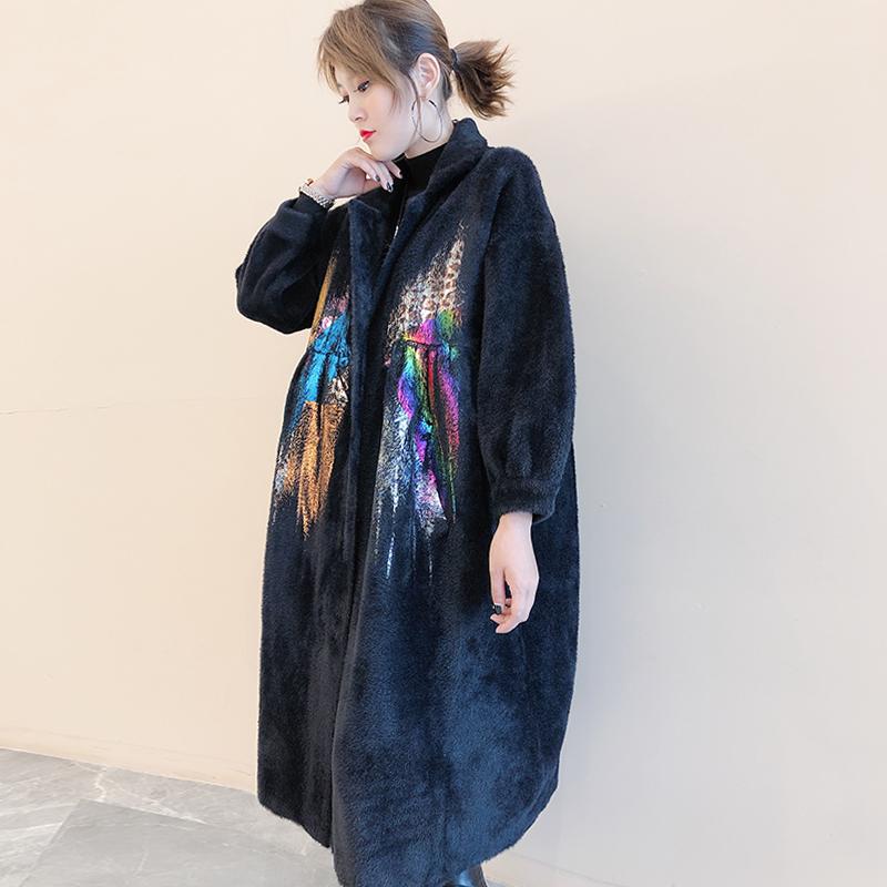 欧洲站2019冬新款时尚水貂绒皮草外套女宽松妈妈高贵过膝洋气减龄