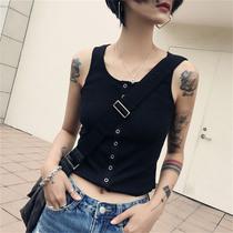 韩版百搭短款打底小背心女外穿螺纹针织无袖打底衫AA高腰露脐上衣