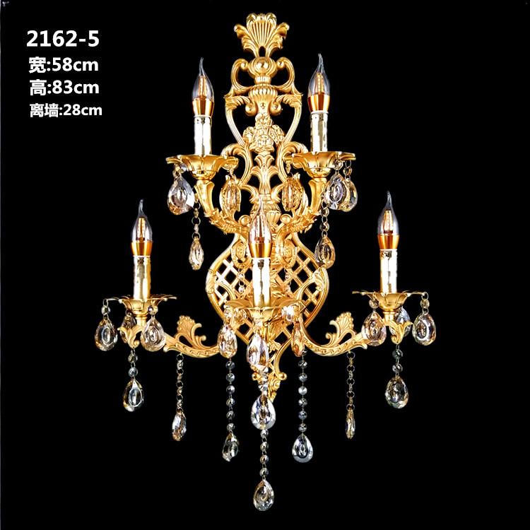 欧式水晶LED蜡烛壁灯 法式锌合金客厅别墅卧室床头时尚创意壁灯具