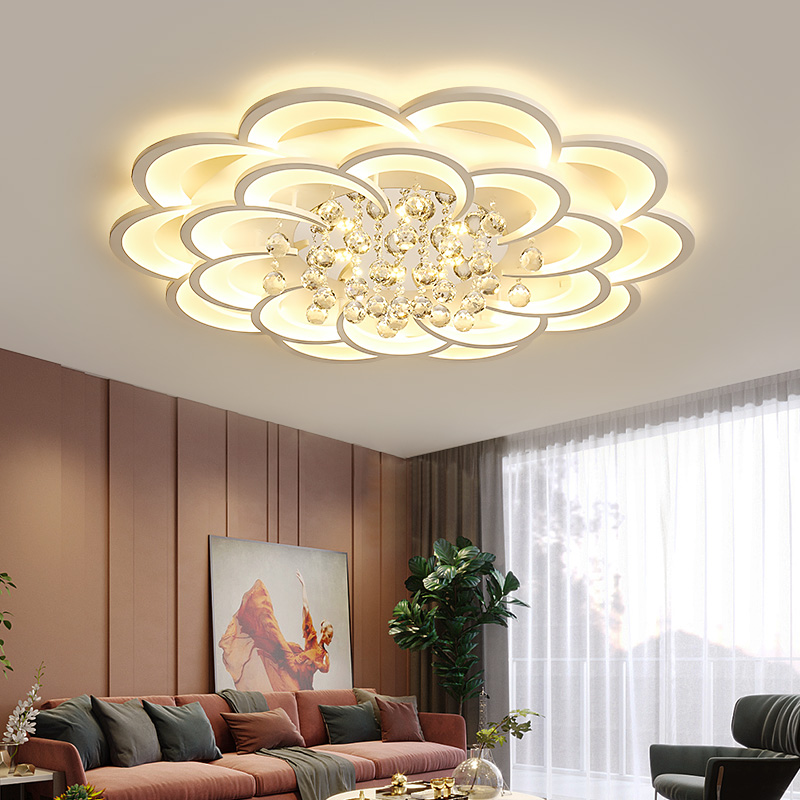 Living room headlight, crystal light, modern simple and atmospheric household light luxury lamp, 2020 new round bedroom ceiling lamp