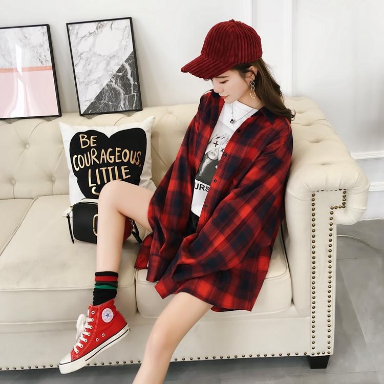 红格子衬衫女宽松韩版百搭学生2018新款春装衬衣上衣复古港味长袖