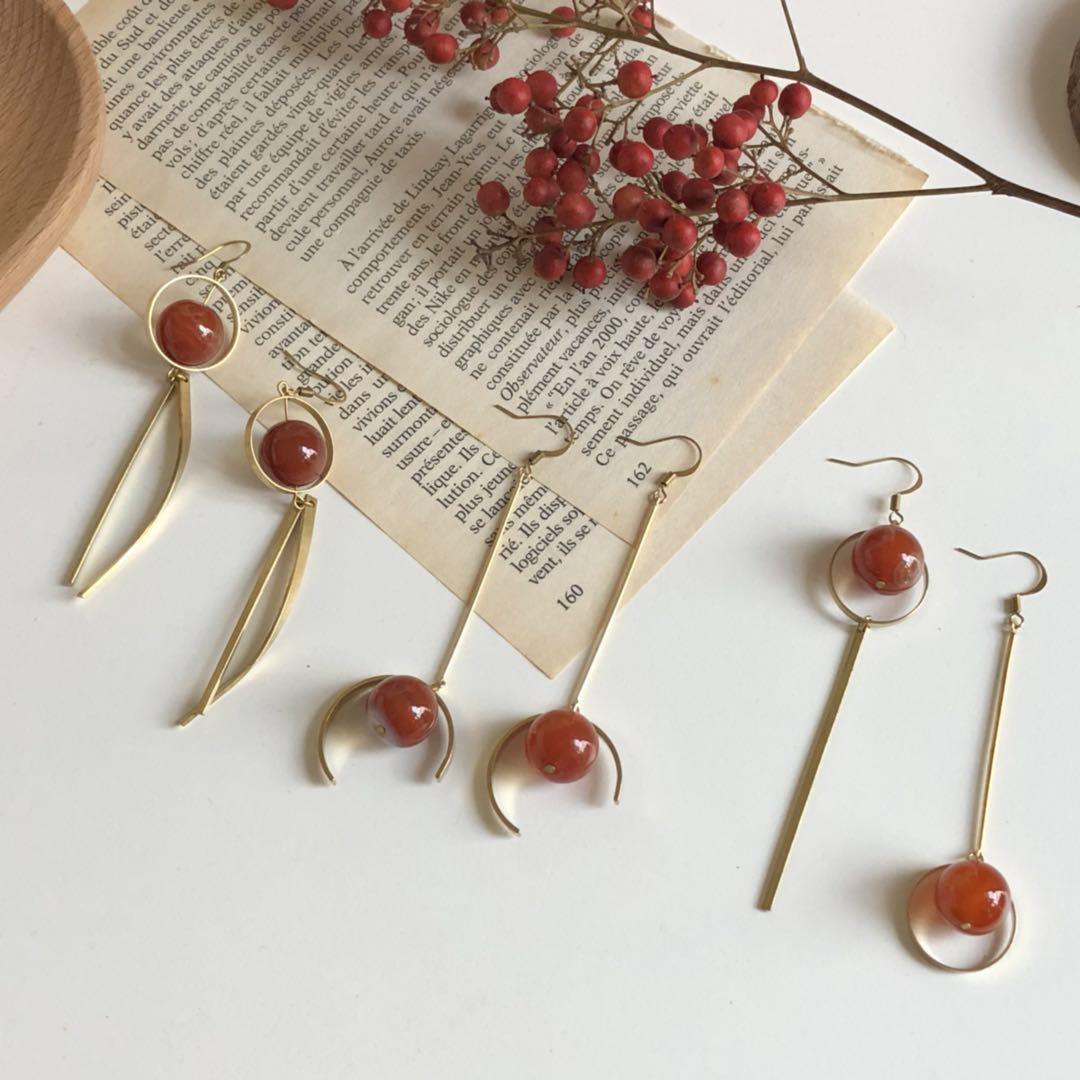 原创独家手工自制 天然大颗红玛瑙复古气质纯黄铜垂感耳环耳夹925