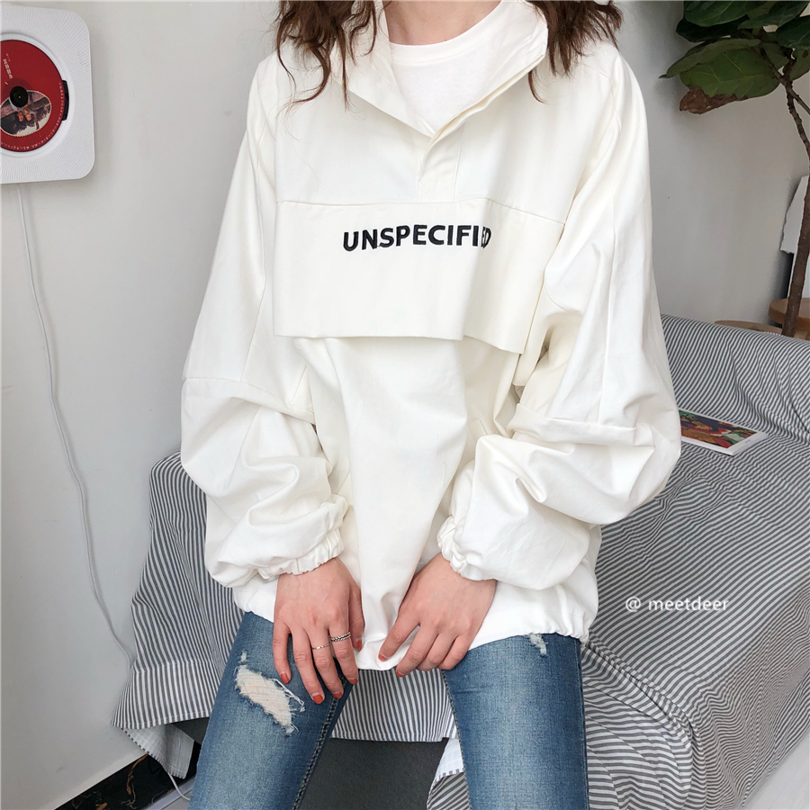 2020 Korean ulzzang spring embroidered letter BF wind Pullover long sleeve high collar womens jacket and work clothes fashion